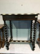 A late 19th century barley twist and marquetry inlaid single drawer side table, with ivory banding