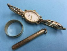 A 9ct tooth pick, Gents ring and a Ladies Rotary watch, stamped '9kt'