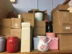A new boxed vase, jugs etc.