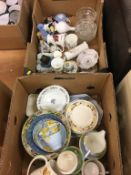Two boxes of mixed glass and china including Maling