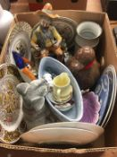 Two boxes of assorted items including blue and white meat plate etc.