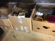 Four boxes of assorted glass and china