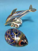 Royal Crown Derby paperweights; a Dolphin and a Hedgehog (2)