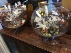 Two glass floral displays
