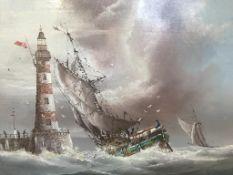 P. J. Wintrip, oil, signed, 'Vessels off a lighthouse', 32 x 37cm