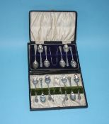 Part set of silver spoons and one other set