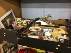 Three boxes including Maling, Royal Albert Old Country Roses etc.
