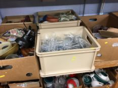 Five boxes of assorted including cut glass