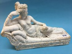 Painted cast Classical figure of a reclining female