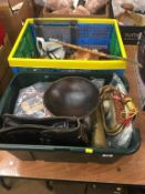 Two boxes of assorted items including a treen bowl etc.