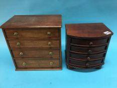 Two jewellery cabinets, formed as miniature mahogany chest of drawers