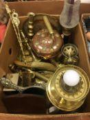 Assorted brass ware, copper kettle etc.