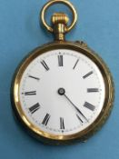 A Continental Ladies pocket watch, case stamped K18