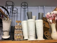 Flower vases and stamps