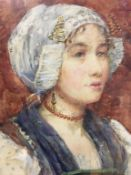 R.M. Wyatt, monogrammed RMW, watercolour, signed, 'Portrait of a Dutch girl (Dornje)', bears label