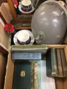 Two boxes including books, oak mirror, plated tureen cover etc.