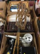 Three boxes of assorted including carpet beaters, coffee grinder etc.