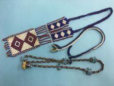 Three Indian beadwork necklaces