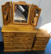 Pine chest of drawers and bedside drawers