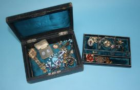 Antique jewellery box including; necklaces, Albert chain, earrings, bracelets, rings, brooches and