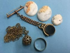 Three cameos, a fob on a 9ct chain, silver gilt necklace etc.