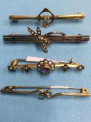 Four 9ct gold bracelets, 7g