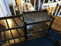Two oak trollies and a circular occasional table