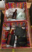 Two boxes including bottles, Batik blocks etc.