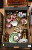 Tray of assorted including Maling, Crown Devon lustre etc.