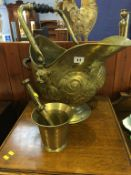 Brass coal scuttle and a pestle and mortar