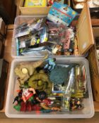 Two trays of vintage toys including Star Wars, He-Man etc.
