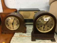 Two mantle clocks and a radio