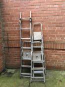 Five sets of aluminium step ladders
