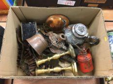 Box of assorted including a cartridge belt, candlesticks etc.