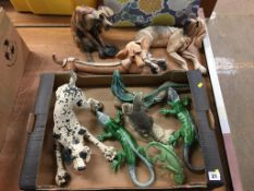 Collection of figures of dogs and lizards etc.