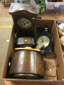 Various mantle clocks, scales and various chisels