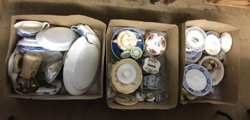 Three boxes of glass and china