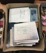 Assorted ephemera including ships blueprints and cigarette cards