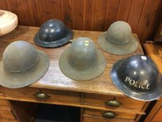 Collection of five tin helmets. Contactless collection is strictly by appointment on Thursday,