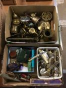 Two boxes of brassware, cutlery etc. Contactless collection is strictly by appointment on