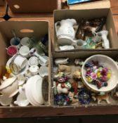 Three boxes assorted including Beswick ram, Coalport cruet, Parian jugs etc. Contactless