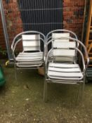 Set of six aluminium chairs. Contactless collection is strictly by appointment on Thursday, Friday