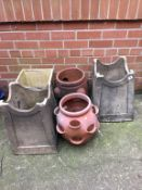 Four chimney pots and a terracotta planter. Contactless collection is strictly by appointment on