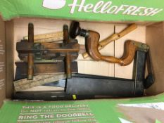 Various hand tools including a brace spoke shave, various box wood rules, moulding plane etc.