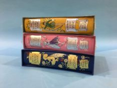 Three volumes, Folio Society 'Yellow Fairy Book', 'Pink Fairy Book' and 'Blue Fairy Book'