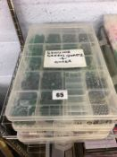 Two boxes of beads - green quartz, chalcedony, clear quartz, howlite, tigers eye, picture jasper