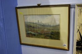 William Davison, watercolour, signed, 'View of Durham', 24 x 37cm