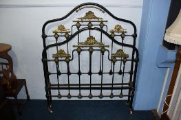 A Victorian brass and metalwork three quarter bed frame, 122cm wide