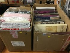 Two boxes of assorted curtains (as new in original packaging)