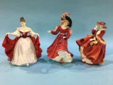 Three Royal Doulton figures, 'Sara', 'Patricia' and 'Top of the Hill'